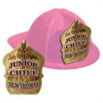 IMPRINTED FIRE HATS - PINK -GOLD JR. CHIEF SHIELD