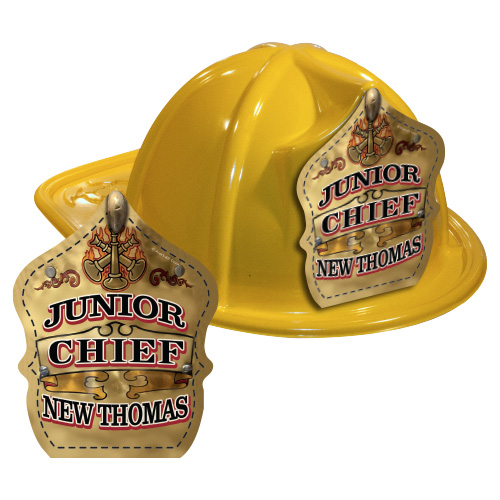 IMPRINTED FIRE HATS -YELLOW -GOLD JR. CHIEF SHIELD