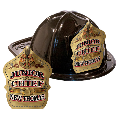 IMPRINTED FIRE HATS-BLACK- GOLD JR. CHIEF SHIELD