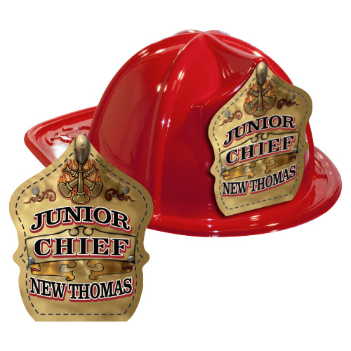 IMPRINTED FIRE HATS-RED- GOLD JR. CHIEF SHIELD