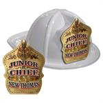 IMPRINTED FIRE HATS-WHITE- GOLD JR. CHIEF SHIELD