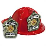 Imp. Fire Hats - Red w/ Green Camo Shield