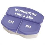 Imprinted Blue Triple Compartment Pill Case
