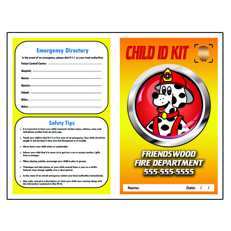 Imprinted Finger Print ID Kit - Cappy Firedog