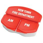 Imprinted Red Triple Compartment Pill Case